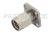 SMA Male Field Replaceable Connector With EMI Gasket 4 Hole Flange 0.012 inch Pin, .500 inch Flange Size -- PE44018 -Image