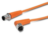 PATCH CABLE 0.6m (1.97ft) M12 RT-ANG FEMALE/AXIAL MALE 4-POLE PVC IP69K ORG -- EVT228 - Image