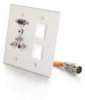 RapidRun® Double Gang Integrated HD15 + 3.5mm + RCA Audio/Video + (2) Keystone Wall Plate - Brushed Aluminum -- 2212-60028-001 - Image