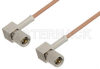10-32 Male Right Angle to 10-32 Male Right Angle Cable 12 Inch Length Using RG178 Coax -- PE36534-12 -- View Larger Image