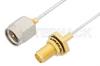 SMA Male to SMA Female Bulkhead Cable 18 Inch Length Using PE-SR047FL Coax, RoHS -- PE34245LF-18 -Image