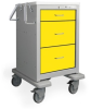 3 Drawer Short Steel Isolation Cart -- USGKU-499-YEL