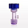 Tuohy Borst Adapter with Blue Flat Cap, Female Luer Lock Sideport, Threaded Flare Connector -- 11228 -Image