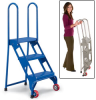 All-Welded VESTIL Lock and Roll Folding Ladders with Wheels -- 3972901 - Image