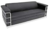 Sofa,Chrome Frame,Black Leather -- 13J266