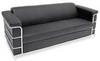 Sofa,Chrome Frame,Black Leather -- 13J266