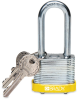 Brady Yellow Steel 5-pin Keyed & Safety Padlock 99539 - 1 9/16 in Width - 1 1/3 in Height - 17/64 in Shackle Diameter - 2 Key(s) Included - 754476-99539 -- 754476-99539