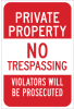 Brady B-959 Aluminum Rectangle White Restricted Area / No Trespassing Sign - Reflective - TEXT: PRIVATE PROPERTY - 115624 -- 754473-18987