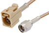 SMA Male to Beige FAKRA Jack Cable 36 Inch Length Using RG316 Coax -- PE39348I-36 -Image