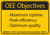 Brady B-302 Black on Yellow Indoor / Outdoor Polyester Motivational Label - 5 in Width - 3 1/2 in Height - Printed Text = OEE OBJECTIVES - MAXIMUM UPTIME -PEAK EFFICIENCY -OPTIMUM QUALITY - 110757 -- 754473-68391