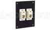 Universal Sub-Panel Black, 2 Ivory Feed-Thru Couplers, RJ11 (6x4) Straight -- USP2ECF4SB