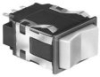 AML24 Series Rocker Switch, DPDT, 3 position, Silver Contacts, 0.025 in x 0.025 in (Printed Circuit or Push-on), 2 Lamp Circuits, Rectangle, Snap-in Panel -- AML24GBE3CA04 -Image