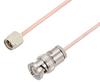 SMA Male to BNC Male Cable 150 cm Length Using RG405 Coax , LF Solder -- PE3W00079LF-150CM -Image
