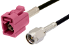 SMA Male to Violet FAKRA Jack Cable 36 Inch Length Using RG174 Coax -- PE39199H-36 -Image
