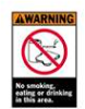 Brady ANSI Z535 Safety Signs (WARNING): No Smoking, Eating or Drinking In This Area -- hc-19-038-257