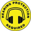 Accuform Slip-Gard Round Floor Signs: Hearing Protection Required -- hc-17-998-331