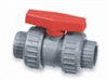 Thermoplastic True Union Ball Valve, CPVC with Viton seals, PTFE seats, 1/2