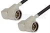 N Male Right Angle to N Male Right Angle Cable 12 Inch Length Using RG58 Coax, RoHS -- PE3698LF-12 -Image