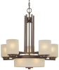 8-Light Chandelier with Five Arms and Center Downlight -- 2880-62 - Image