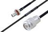 MIL-DTL-17 SMA Female Bulkhead to TNC Male Cable 24 Inch Length Using M17/119-RG174 Coax -- PE3M0113-24 -Image