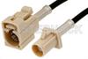 Beige FAKRA Plug to FAKRA Jack Cable 12 Inch Length Using PE-C100-LSZH Coax -- PE38748I-12 -Image