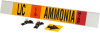 Brady B-681, B-883 Black / Orange / Red / White on Yellow Polyester Strap-On Pipe Marker - 3 1/2 in Character Height - Printed Msg = AMMONIA - 59931 -- 754476-59931 - Image