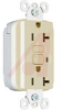 Receptacle,PlugTail, GFCI Extra Heavy-Duty, 20A, 125V, NEMA:5-20R,Color: Ivory -- 70050666