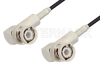 BNC Male Right Angle to BNC Male Right Angle Cable 12 Inch Length Using PE-B100 Coax -- PE38249-12 -Image