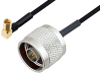 N Male to SSMC Plug Right Angle Cable 6 Inch Length Using PE-SR405FLJ Coax -- PE3C4489-6 -Image