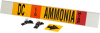 Brady B-681, B-883 Black / Orange / Red / White on Yellow Polyester Strap-On Pipe Marker - 3 1/2 in Character Height - Printed Msg = AMMONIA - 59921 -- 754476-59921 - Image