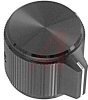 Knob; 0.750 in.; Straight Knurl with Bar Pointer; 0.250 in.; Black; Alcoswitch -- 70156333