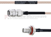 SMA Male to SMA Female Bulkhead MIL-DTL-17 Cable M17/113-RG316 Coax in 12 Inch -- FMHR0092-12 -- View Larger Image