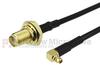 SMA Female Bulkhead to RA MMCX Plug Cable RG174 Coax in 24 Inch -- FMC1219174-24 -Image