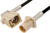Beige FAKRA Plug to FAKRA Jack Right Angle Cable 12 Inch Length Using RG174 Coax -- PE38753I-12 -Image