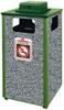 Aspen Stone Panel Hinged Top Waste Receptacle -- GPR449-GREEN