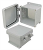 6x6x4 Inch UL® Listed Weatherproof NEMA 4X Enclosure, Non-Metal Mounting Plate, Non-Metallic Hinges -- NBN060604-KIT01 -- View Larger Image